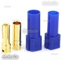 1 Pair XT150 6mm Large Current Motor Bullet Connector Male/Female w/Sleeve Blue