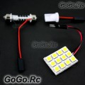 12-SMD 5050 LED Car Dome Light Panel Lamp 12V - White (5050-P12-WH)
