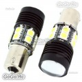 2 Pcs Lens 1156 BA15S White 5050 SMD 13 LED Car Turn Signal Bulbs - LE006WH